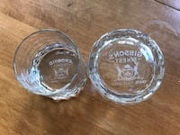 two round clear glass bowls