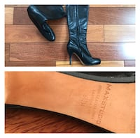 Pair of black leather heeled boots Oakville, L6L 5A8