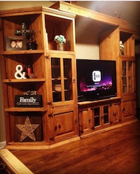 Rustic solid wood entertainment center