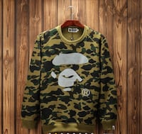 brown, green, and black camouflage A Bathing Ape crew-neck sweatshirt Mississauga, L5M 3N1
