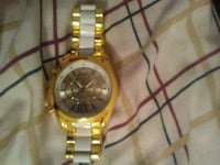 round gold-colored chronograph watch with link bra Rocky Mount, 27804