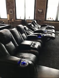 6 Seating Theater Chairs BLACK