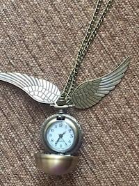 Harry Potter Snitch Pocket Watch Pendant Necklace Steampunk Wing Clock Calgary, T3E