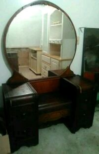 Beautiful Antique Dark Wooden Dresser with Mirror and Made-In Bench Charleston