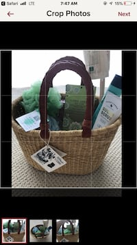 Beautiful woven basket with leather handles . NEW perfect for gift giving .  Danbury, 06811