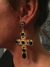 Gorgeous Luxury Style Large Cross Earrings