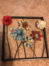 Wall decor w mix of metal and cloth