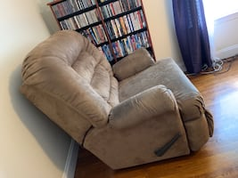 Used Beige/Brown Suede Recliner