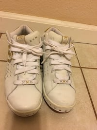 pair of white low top sneakers] Overland Park, 66212