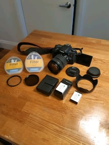 Canon T6S with filters, case, spare batteries, gorilla pod