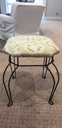 Small green and white wire foot stool