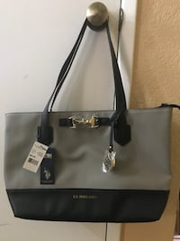 black and gray U.S Polo Assn leather tote bag