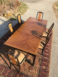 rectangular brown wooden table with four chairs dining set null