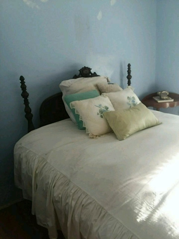 Antique Wood Bed With Headboard Footboard Rails