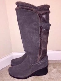 Women's Gray Wedge Boots  Herndon, 20171