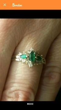 silver and green gemstone ring Douglasville, 30134