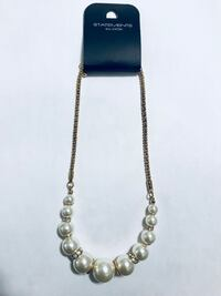 diamond encrusted pearl beaded necklace