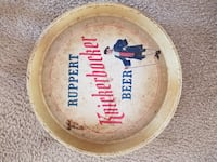 round yellow Ruppert Kinckerborker beer printed ceramic plate Barnegat Township