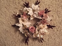 Easter Wreath rose gold Pink and white gold silver floral wreath great gift indoor / outdoor Chantilly, 20151