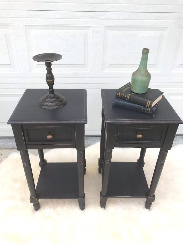 Wood black distressed antique set night stands side tables end table  a8c90d94-92ad-44ba-bf43-3d3955662d86