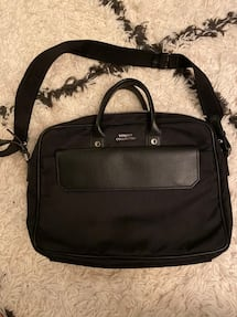 Versace Collection Black Leather Nylon Briefcase Messenger Bag