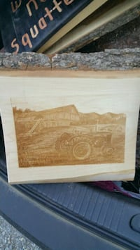 wooden picture, tractor