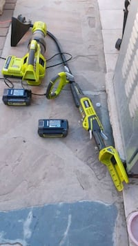 ryobi expand it edger with blower and 2 battery and charger