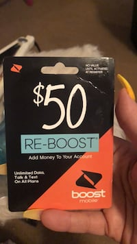 $50 boost mobile card Knoxville, 37922