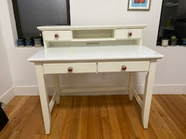 White Vanity with Anthropologie knobs