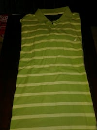 green and yellow striped polo shirt Woodstock