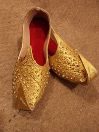 Kids Boys Golden Leather Traditional Khussa Shoes ISLAMABAD