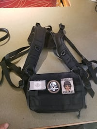 Chest harness bag multiple pockets and velcro patches