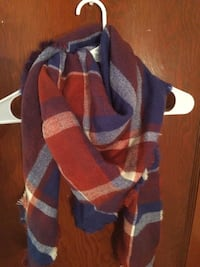 red, white and blue plaid print scarf 2033 mi