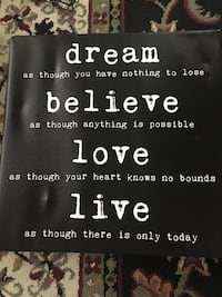 """Dream, Believe, Love, Live"" picture frame"