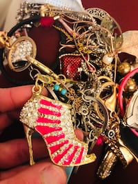 Pink and gold silver crystal studded high heels shoes Keychain. Lanham, 20706