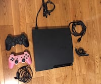 Sony ps3 slim console with two controllers, all wires, chargers and wireless headset