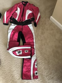 Women's Motorcycle Leathers. Selling each set for 100.00. Red and and white leathers are a size 46 European size, and the pink leathers are a size small. Each piece is worth over 200.00 so this is an awesome deal. Elkridge, 21075