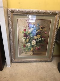 White and pink flower painting with brown wooden frame Whittier, 90601