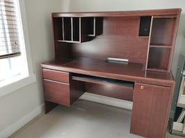 Wooden Computer Office Desk - Wood Hutch File Cabinet