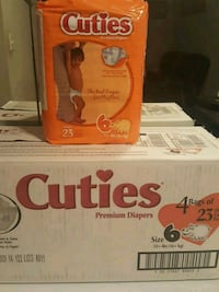 Cuties premium diapers size 6 , pack of 4 bags.  Germantown, 20874