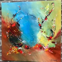 red, blue, and yellow abstract painting Washington