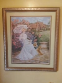 painting of man and woman with brown wooden frame Whittier