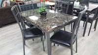 Faux marble top dining set 5pc