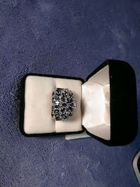 Simulated Blue Sapphire Dome Ring