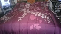 purple and white floral bedspread set
