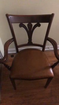 brown wooden framed padded armchair Chicago, 60659