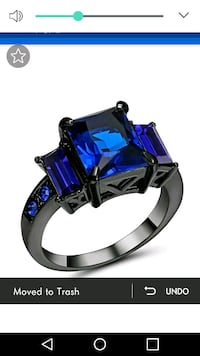 New blue stone black rhodium plated stunning ring Montreal, H8T