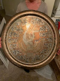 Hand-made Egytian, solid-copper plate. Beautiful as table-top, wall-decoration, or large tray. Bought in Cairo from artisan 25 years ago. Alexandria, 22310