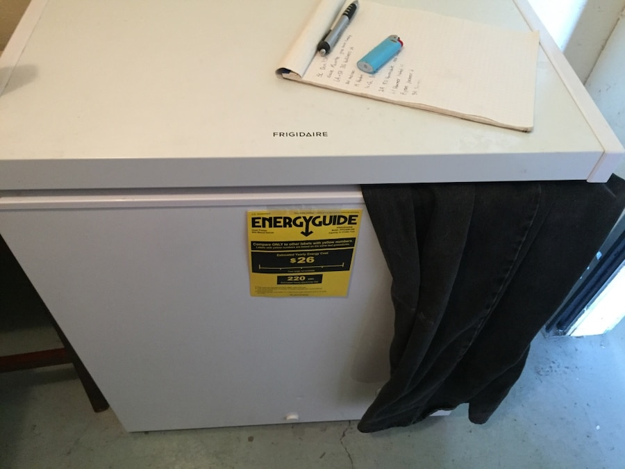 white Frigidaire deep freezer