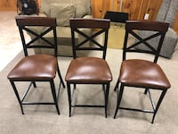 Barstools 3 Dark Wood and Metal Woburn